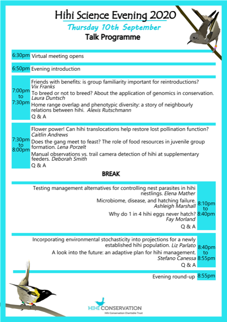 Hihi Conservation Science Evening 2020 programme