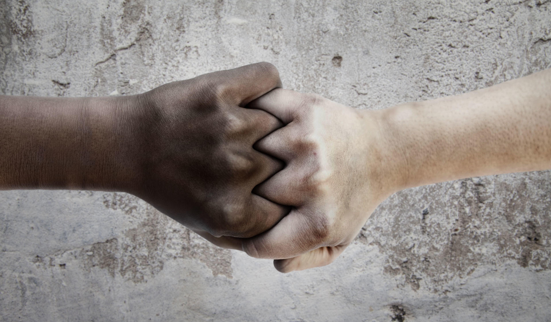 A black and a white fist together. Image of the Master's Programme in Intercultural Encounters at the University of Helsinki.