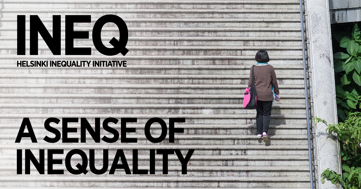 event image with title and ineq logo; woman walking up big stairs