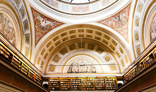 Beautifully decorated ceiling of the National Library of Finland.