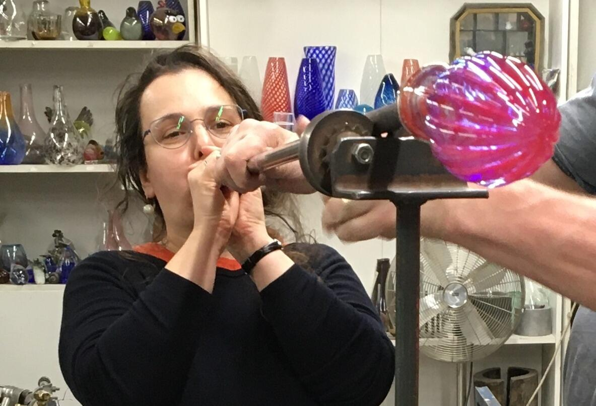 Lidia blowing glass