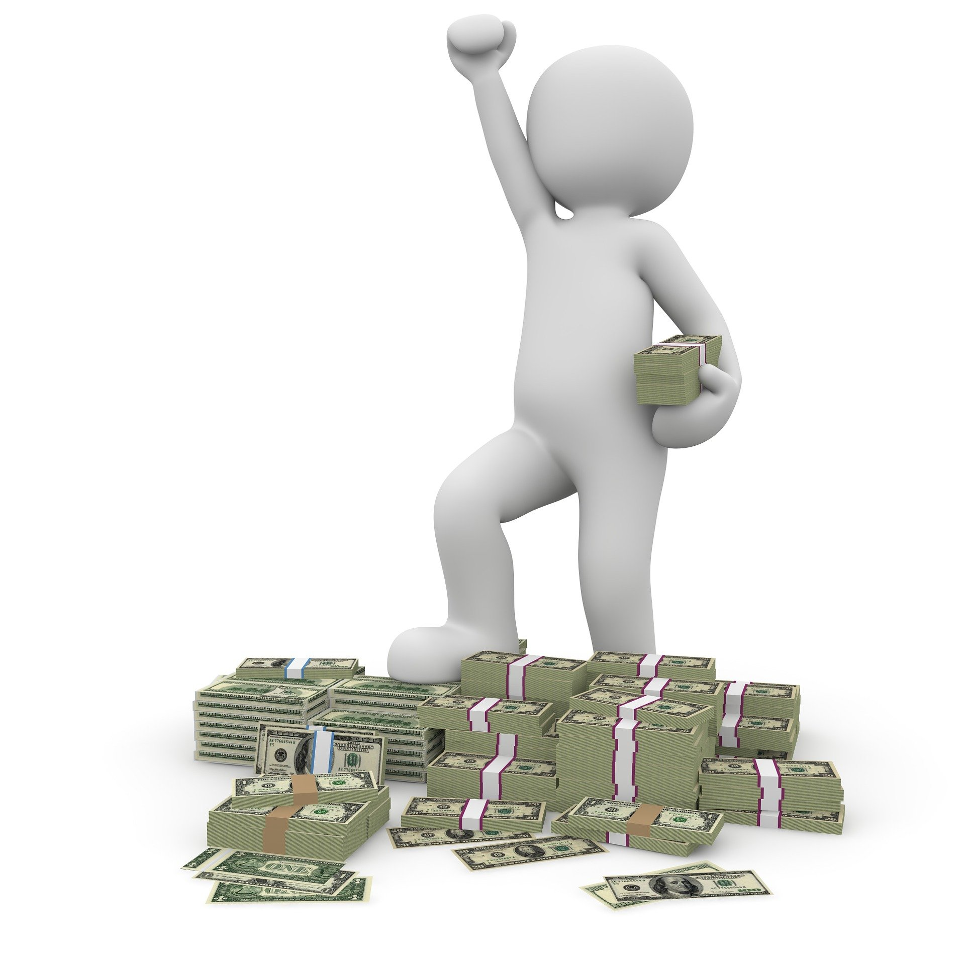 A person cheering with money.