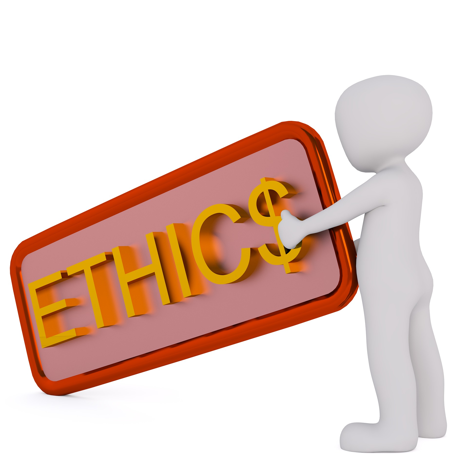 A picture of an ethics signboard with a dollar sign for an S.