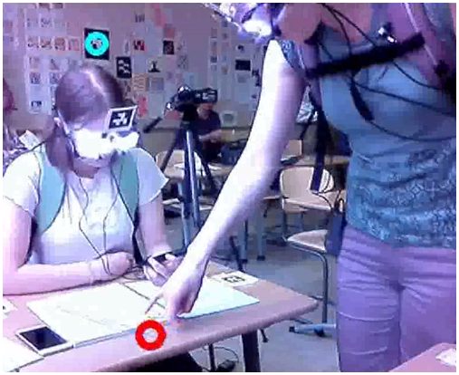 Screen capture of a gaze recording, a teacher and a student are looking at a paper