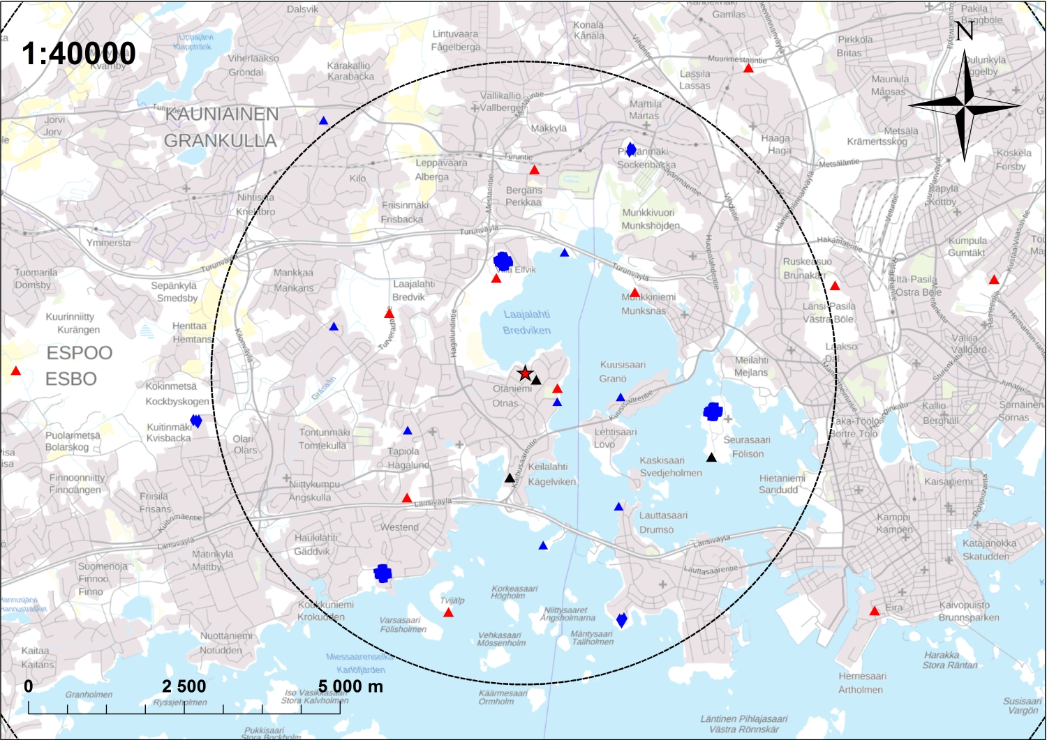 Seismic network used to record the seismic response of the 2018 St1 Otaniemi EGS stimulation. The star marks the location of the 6 km deep borehole on the campus of Aalto University, and the symbols indicate seismic stations.