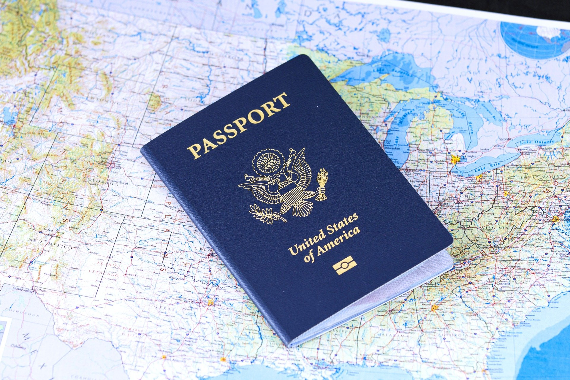 Passport lying on the map.