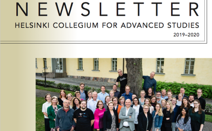 HCAS Newsletter cover with group photo of HCAS fellows smiling outside
