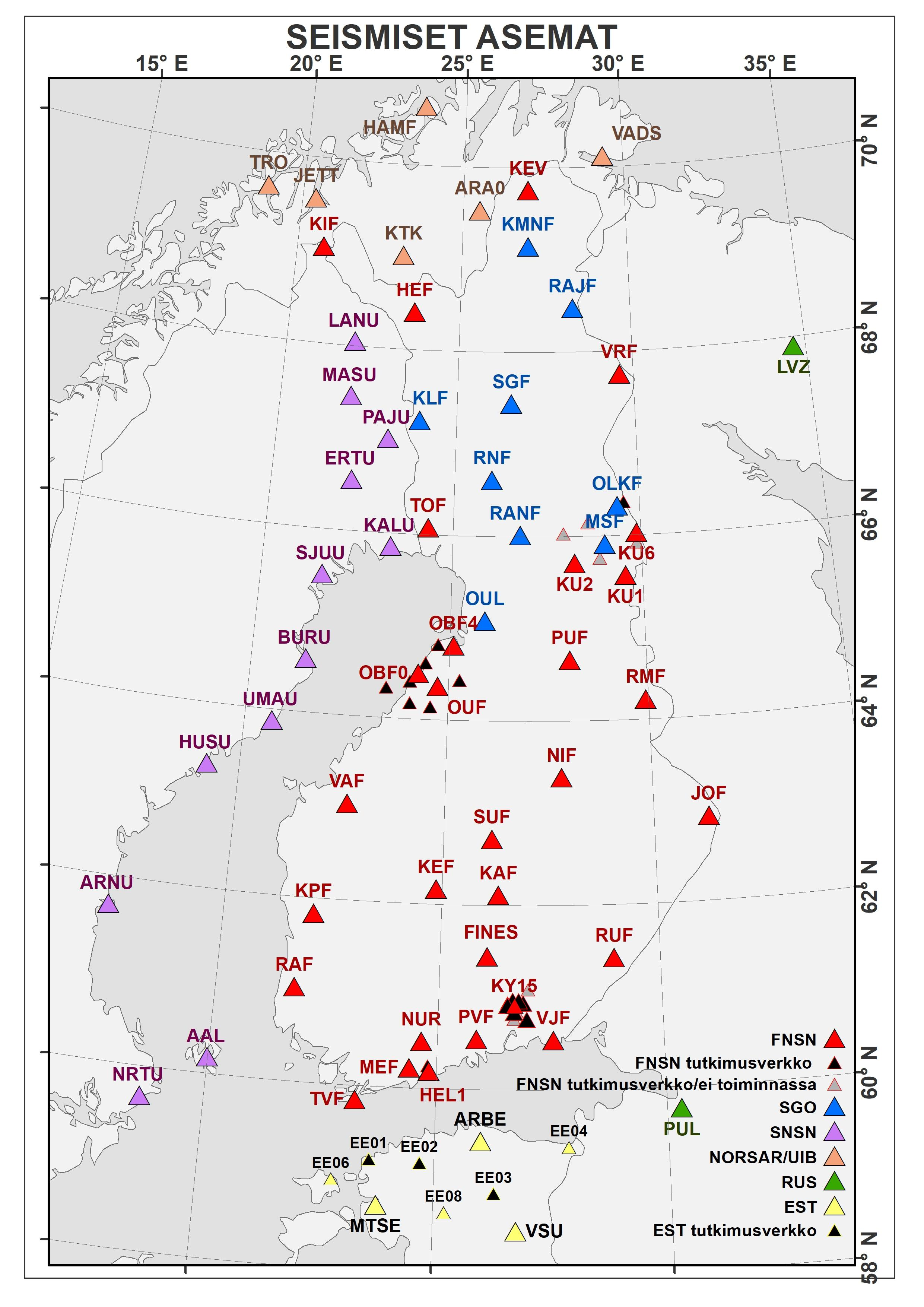 Seismic stations in Finland and neighbouring countries