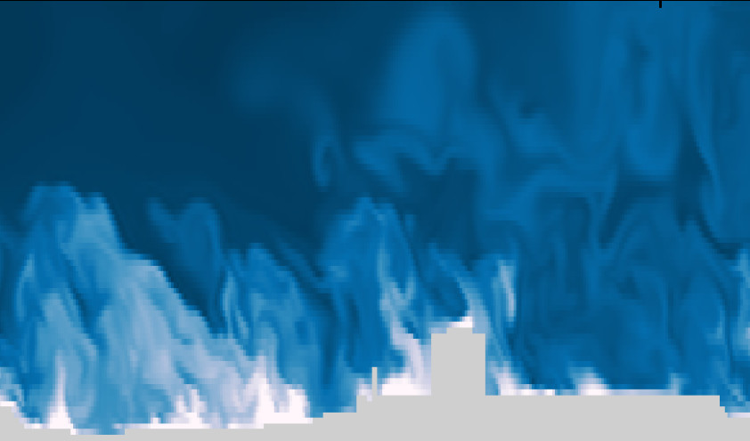 Simulation of potential temperature over urban area. Made by Mona Kurppa.
