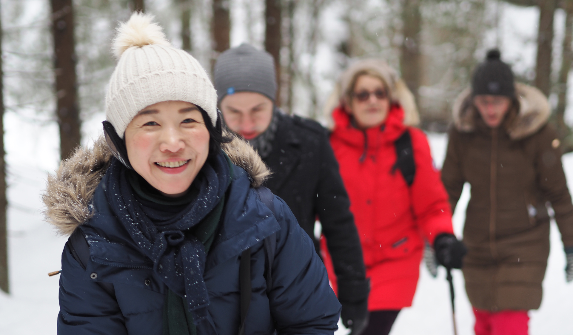 Visiting fellows in snowy Nuuksio forest